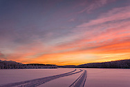 Sunset light on Clunie Lake in Southcentral Alaska. Winter. Afternoon.