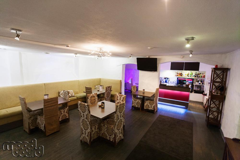 Interior of empty restaurant