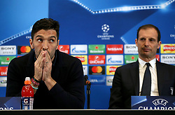 Juventus Gianluigi Buffon and coach Massimiliano Allegri during the press conference at Wembley Stadium, London.