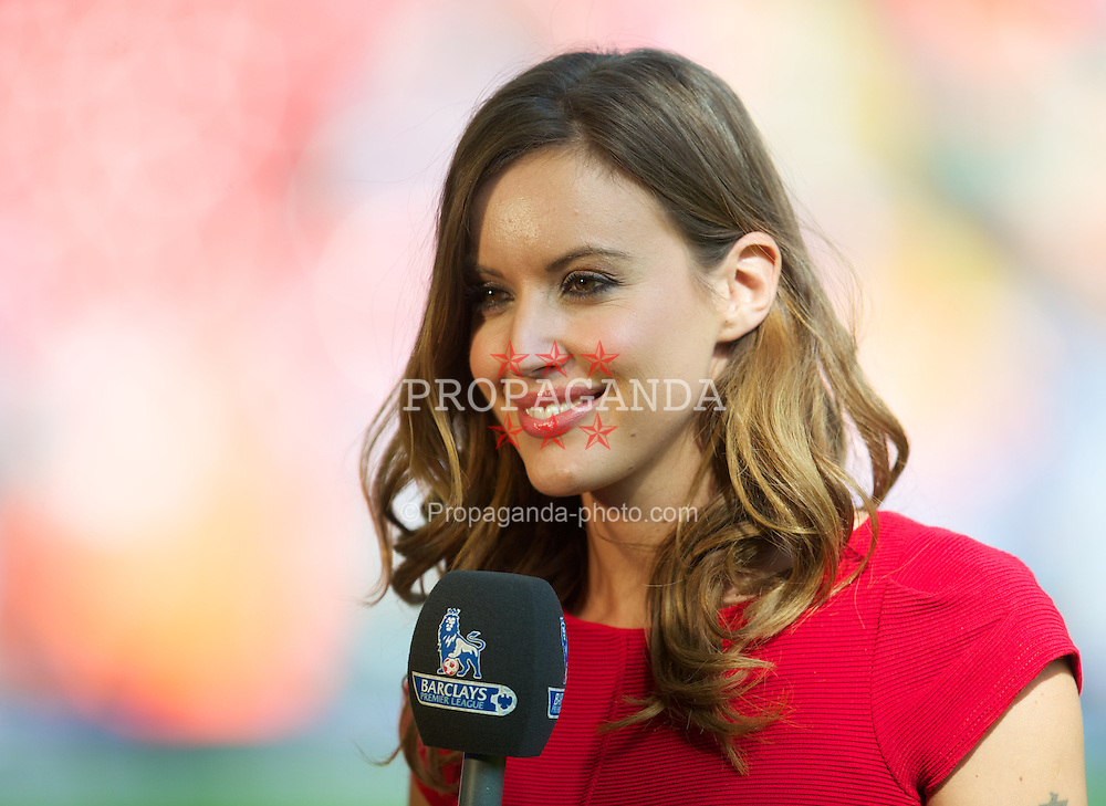 LIVERPOOL, ENGLAND - Sunday, August 26, 2012: Television reporter Charlie Webster, working for Premier League Productions, during the Premiership match between Liverpool and Manchester City at Anfield. (Pic by David Rawcliffe/Propaganda)
