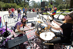 Groovy Judy, left, and her band perform for passing runners during the 105th Bay to Breakers 12k, Sunday, May 15, 2016 in San Francisco. The 7.42-mile race from San Francisco Bay to the Pacific Ocean, which attracts a field of tens of thousands of runners, from elite runners to weekend warriors, some clad in costume and some in nothing at all. (Photo by D. Ross Cameron)