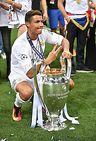 FUSSBALL  CHAMPIONS LEAGUE  FINALE  SAISON 2015/2016   Real Madrid - Atletico Madrid                   28.05.2016 Cristiano Ronaldo (Real Madrid) gewinnt zum dritten mal die Champions League.