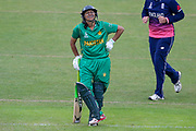 Pakistan womens cricket player Asmavia Iqbal Khokhar is not amused at being given out LBW during the ICC Women's World Cup match between England and Pakistan at the Fischer County Ground, Grace Road, Leicester, United Kingdom on 27 June 2017. Photo by Simon Davies.