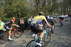 The tail end group on the 2nd ascent of the Kemmelberg during the 2019 Gent-Wevelgem in Flanders Fields running 252km from Deinze to Wevelgem, Belgium. 31st March 2019.<br /> Picture: Eoin Clarke | Cyclefile<br /> <br /> All photos usage must carry mandatory copyright credit (© Cyclefile | Eoin Clarke)