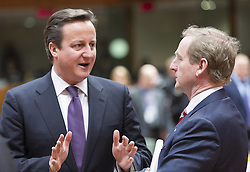 Britain's Prime Minister David Cameron chats with Irish Prime Minister Enda Kenny during a roundtable meeting at the EU Headquarters in Brussels, capital of Belgium, Feb. 7, 2013. Top leaders of the EU have been scheduled for tough negotiations over the bloc s seven-year budget scheme at the two days summit in Brussels, February 7, 2013. Photo by Imago / i-Images...UK ONLY