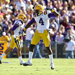 November 6, 2010; Baton Rouge, LA, USA;  LSU Tigers cornerback Jai Eugene (4) celebrates after a defensive stop during the first half against the Alabama Crimson Tide at Tiger Stadium.  Mandatory Credit: Derick E. Hingle