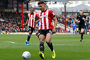 Brentford Forward Ollie Watkins (11) gets the ball under control during the EFL Sky Bet Championship match between Brentford and Ipswich Town at Griffin Park, London, England on 7 April 2018. Picture by Andy Walter.