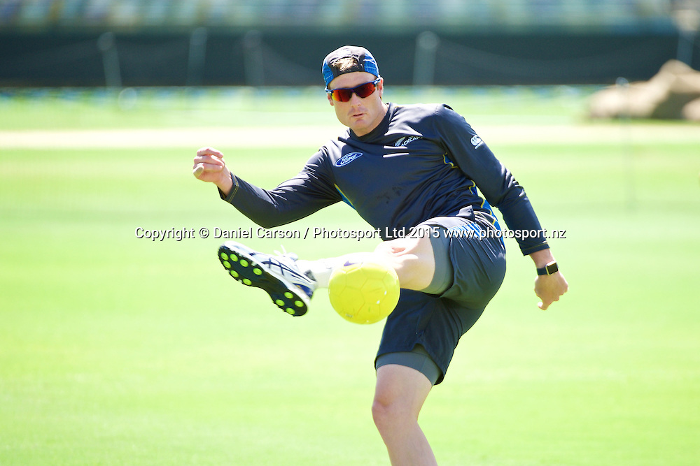 Martin Guptill kicks the ball during the training session on the 12th of November 2015. The New Zealand Black Caps tour of Australia, 2nd test at the WACA ground in Perth, 13 - 17th of November 2015.   Photo: Daniel Carson / www.photosport.nz