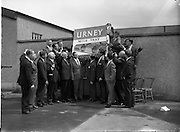 04/08/1962<br /> 08/04/1962<br /> 04 August 1962 <br /> Group of Sales Representatives at Urney chocolates factory, Tallaght, Co. Dublin. Group appears to be advertising Urney's Milk Tray chocolates.