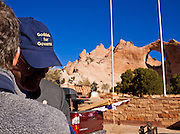 31 OCTOBER 2010 - WINDOW ROCK, AZ:    Terry Goddard talks to a supporter in Window Rock.  Goddard, and the other Democrats on the statewide ticket, campaigned in Window Rock and Kingman on Halloween. Goddard ended the day with a press conference in front of the Executive Office Tower at the State Capitol in Phoenix. Goddard lost the election to sitting Governor Jan Brewer, a conservative Republican.     PHOTO BY JACK KURTZ