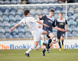 Raith Rovers Liam Fox and Falkirk's Conor McGrandles.<br /> Raith Rovers 2 v 4 Falkirk, Scottish Championship game today at Starks Park.<br /> &copy; Michael Schofield.