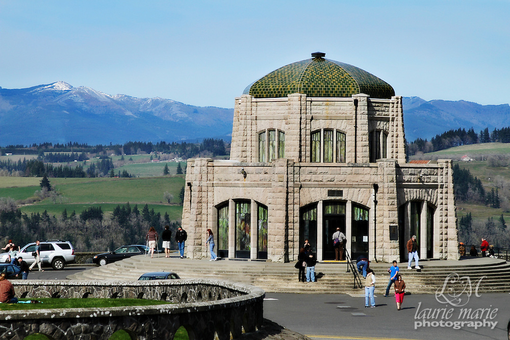 "Vista House was built between 1916-1918 as a memorial to Oregon pioneers, as a comfort station for those traveling on the Historic Columbia River Highway and as an observatory. The octagonal stone structure towers 733 feet above the Columbia River, is listed on the National Register of Historic Places and in the National Geographic Society's 2001 ""Save America's Treasures"" book."