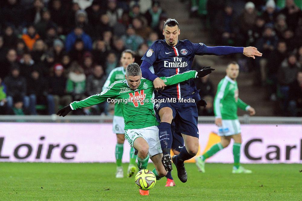 Fabien LEMOINE  / Zlatan IBRAHIMOVIC - 25.01.2015 - Saint Etienne / PSG  - 22eme journee de Ligue1<br />Photo : Jean Paul Thomas / Icon Sport