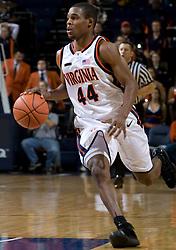 Virginia guard Sean Singletary (44) dribbles up court against Elon.  The Virginia Cavaliers men's basketball team defeated the Elon Phoenix 91-61  at the John Paul Jones Arena in Charlottesville, VA on December 22, 2007.