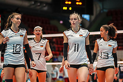16.05.2019, Montreux, SUI, Montreux Volley Masters 2019, Deutschland vs Polen, im Bild Lena Stigrot (Germany #10), Nele Barber (Germany #7), Louisa Lippmann (Germany #11), Denise Imoudu (Germany #13) // during the Montreux Volley Masters match between Germany and Poland in Montreux, Switzerland on 2019/05/16. EXPA Pictures © 2019, PhotoCredit: EXPA/ Eibner-Pressefoto/ beautiful sports/Schiller<br /> <br /> *****ATTENTION - OUT of GER*****