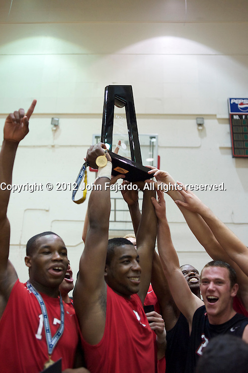 LBCC Men hoist the CCCAA State Championship Mens Volleyball Trophy at the LBCC Hall of Champions, Saturday, April 21, 2012.