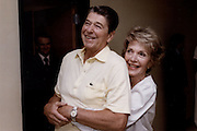 March 6, 2016 - NANCY REAGAN, Ronald Reagan's widow and First Lady from 1981-1989, has died at 94. The cause of death was congestive heart failure. Pictured: Nov 09, 1985. Washington, DC, U.S. - Former US President RONALD WILSON REAGAN is hugged from behind by his beloved wife NANCY REAGAN while hosting Britain's Prince Charles and his wife Princess Diana.<br /> ©Michael Evans/Exclusivepix Media