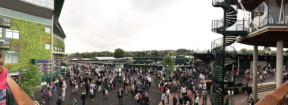 The All England Lawn Tennis Championship 2014. 28th June 2014.<br /> Picture shows - View from members enclosure