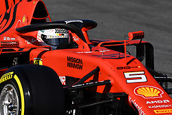 February 18, 2019 - Barcelona, Spain - The German driver, Sebastian Vettel, of Scuderia Ferrari Mission Winnow testing, the new car for F1 2019 Championship during the first day of Formula One Test at Catalonia Circuit, on February 18, 2019 in Barcelona, Spain. (Credit Image: © Joan Cros/NurPhoto via ZUMA Press)
