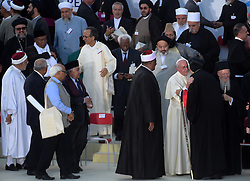 Pope Francis attends the '30th World Day of Prayer for Peace' a inter-religious meeting in the Italian pilgrimage town of Assisi, Italy on September 20, 2016. Pope Francis welcomed some 450 leaders representing a rainbow of faiths to the hilltop Italian town of Assisi to commemorate the 30th anniversary of a daylong prayer for peace here called by Pope John Paul II in 1986. Photo by Eric Vandeville/ABACAPRESS.COM