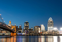 Twilight View of Cincinnati featuring Roebling Bridge, Great American Ball Park, Great American Tower, Scripps Building, and others