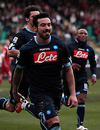 Bari (BA), 23-01-2011 ITALY - Italian Soccer Championship Day 21 - Bari VS Napoli..Pictured: Il gol di Lavezzi (N)..Photo by Giovanni Marino/OTNPhotos . Obligatory Credit