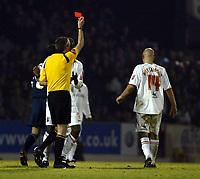 Photo: Chris Ratcliffe.<br />Southend United v Brentford. Coca Cola League 1. 14/01/2006.<br />Referee Mick Thorpe sends off Brentford's Eddie Hutchinson (R).