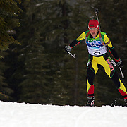 Winter Olympics, Vancouver, 2010. Diana Rasimoviciute, Lithuania, in action during the Women's 7.5 KM Sprint Biathlon at The Whistler Olympic Park, Whistler, during the Vancouver  Winter Olympics. 13th February 2010. Photo Tim Clayton