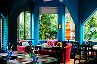 A corner of the colorful, creative dining room at Issaya Siamese Club in Bangkok, Thailand.
