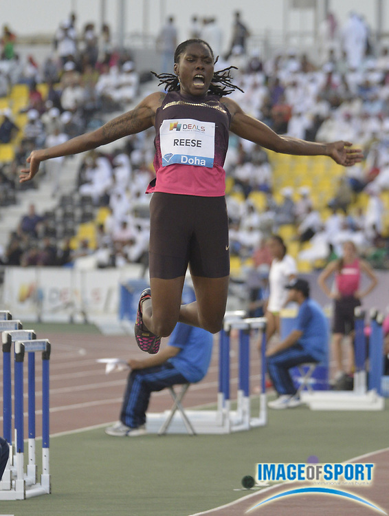 May 10, 2013; Doha, QATAR; Brittney Reese (USA) wins the womens long jump at 23-9 1/2 (7.25m) in the Doha 2013 Diamond League meeting at Hamad Bin Suhaim Stadium. Mandatory Credit: Doha 2013 Diamond League