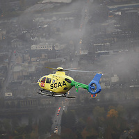 SCAA (Scotlands Charity Air Ambulance) EC135 T2i helicopter, callsign Helimed 76 flying over Perth...<br /> Picture by Graeme Hart.<br /> Copyright Perthshire Picture Agency