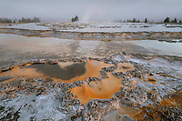 Colorful travertine formations at Great Fountain Geyser Yellowstone National Park