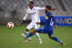 Cape Town-181002- Cape Town City Reyaad Norodien  challenges Elias Pelembe  of Bidvest Wits in a PSL clash at Cape Town Stadium.Cape town City come to this game with high confidence after winning the MTN 8 cup over the weekend,while Wits will be fighting for the the top spot they have lost after some poor display in their last two games.Photographs:Phando Jikelo/African News Agency/ANA