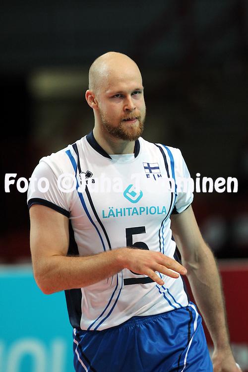 1.6.2013, Helsinki, Finland.<br /> Lentopallon Maailmanliiga 2013, Suomi - Portugali / FIVB World League 2013, Finland v Portugal.<br /> Antti Siltala - Suomi / Finland