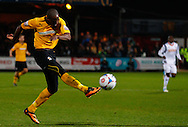 Tom Elliott of Cambridge United shoots over the bar during the Skrill Conference Premier match at the Abbey Stadium, Cambridge<br /> Picture by David Horn/Focus Images Ltd +44 7545 970036<br /> 11/03/2014