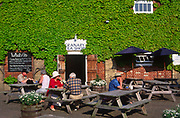 AT5BT3 Snape maltings cafe tables outside Snape Suffolk England