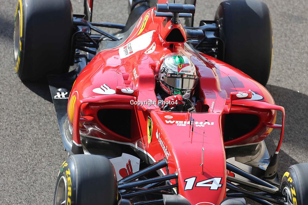 &copy; Photo4 / LaPresse<br /> 22/11/2014 Abu Dhabi, UAE<br /> Sport <br /> Grand Prix Formula One Abu Dhabi 2014<br /> In the pic: Fernando Alonso (ESP) Scuderia Ferrari F14-T