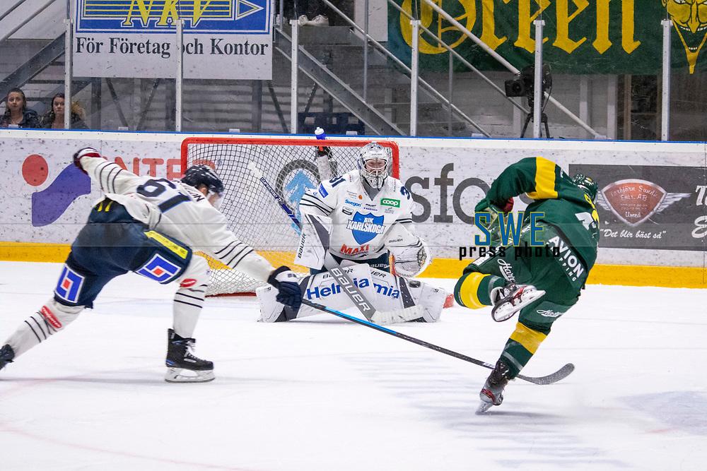 2019-10-09 | Umeå, Sweden: Almost goal by IF Björklöven  during the game  between Björklöven and Karlskoga at A3 Arena ( Photo by: Michael Lundström | Swe Press Photo )<br /> <br /> Keywords: Umeå, Hockey, HockeyAllsvenskan, A3 Arena, Björklöven, Karlskoga, bk191009
