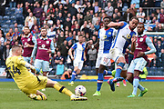 Aston Villa Goalkeeper,  Sam Johnstone (34) and Blackburn Rovers Midfielder, Elliott Bennett (31) during the EFL Sky Bet Championship match between Blackburn Rovers and Aston Villa at Ewood Park, Blackburn, England on 29 April 2017. Photo by Mark Pollitt.