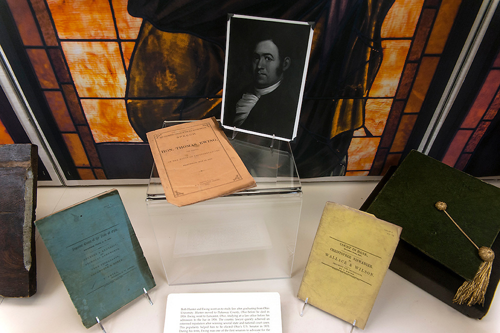 A photograph of Thomas Ewing, one of the first graduates of Ohio University, is on display with artifacts from his career as a lawyer and Representative of the State of Ohio on Monday, February 9 on the fifth floor of Alden Library. The display commemorates Founder's Day which will be February 18.