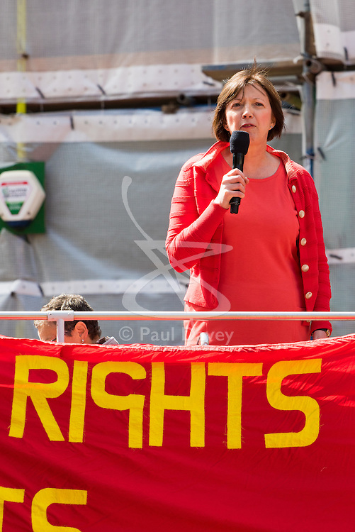 Clerkenwell Green, London, May 1st 2016. Secretary General of the TUC Francis O'Grady addresses a rally prior to the annual May Day march to mark International Workers' Day. ©Paul Davey<br /> FOR LICENCING CONTACT: Paul Davey +44 (0) 7966 016 296 paul@pauldaveycreative.co.uk