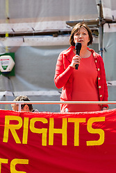 Clerkenwell Green, London, May 1st 2016. Secretary General of the TUC Francis O'Grady addresses a rally prior to the annual May Day march to mark International Workers' Day. &copy;Paul Davey<br /> FOR LICENCING CONTACT: Paul Davey +44 (0) 7966 016 296 paul@pauldaveycreative.co.uk