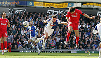 Photo: Paul Thomas.<br /> Blackburn Rovers v Liverpool. The Barclays Premiership. 16/04/2006.<br /> <br /> Liverpool's Fernando Morientes (L) puts his header just wide.