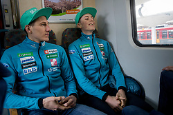 during driving of Slovenian National Ski jumping Team from Ljubljana by train to the FIS World Cup Ski Jumping Final Planica 2018, on March 21, 2018 in Ljubljana, Slovenia. Photo by Urban Urbanc / Sportida