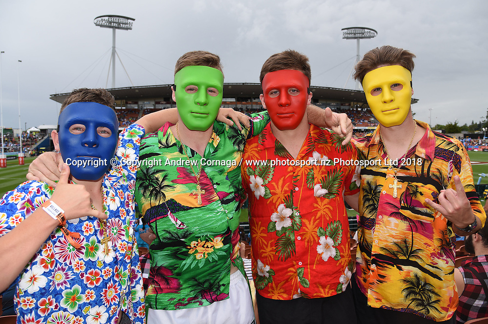Fans and supporters. HSBC World Rugby Sevens Series. FMG Stadium Waikato, Hamiton, New Zealand. Day 1, Saturday 3 February 2018. © Copyright photo: Andrew Cornaga / www.photosport.nz