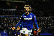 Andy Shinnie celebrates scoring fifth goal during the Sky Bet Championship match between Birmingham City and Reading at St Andrews, Birmingham, England on 13 December 2014.