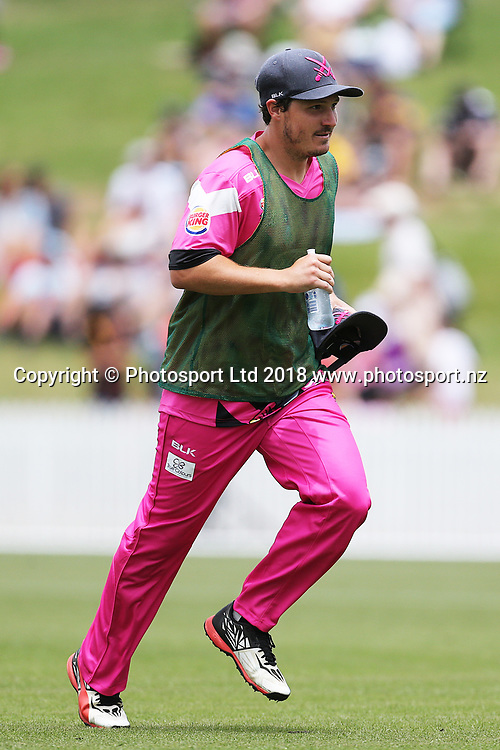 Knights 12th Man BJ Watling runs the drinks during the Burger King Super Smash Twenty20 cricket match Knights v Kings played at Seddon Park, Hamilton, New Zealand on Sunday 14 January 2018.<br /> <br /> Copyright photo: &copy; Bruce Lim / www.photosport.nz