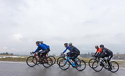 23.03.2018, Rad-WM-Strecke, Innsbruck, AUT, Testbefahrung der Strecke für die UCI Straßenrad WM 2018 in Innsbruck-Tirol mit der italienischen Nationalmannschaft, im Bild die Gruppe rund um die italienischen Fahrer Vincenzo Nibali, Alessandro De Marchi und Franco Pellizotti mit Tomi Rohregger // during a test inspection of the track with the italian cycling team for the UCI 2018 UCI Road World Championships in Innsbruck-Tirol, Austria on 2018/03/23. EXPA Pictures © 2018, PhotoCredit: EXPA/ Jakob Gruber