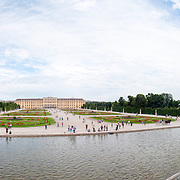 Panoramic shot of the Neptune Well at Schonbrunn Palace in Vienna, Austria