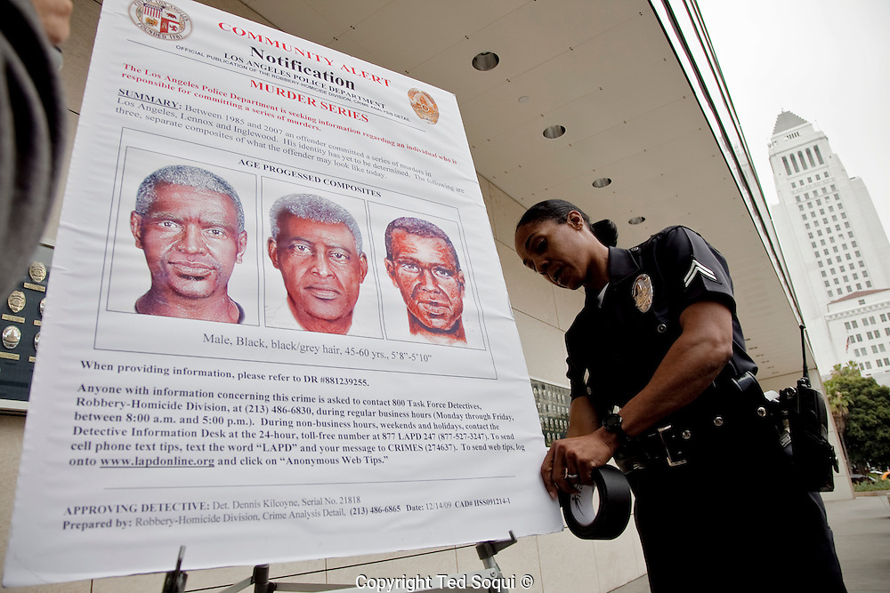 LAPD and city officials hold a press conference to announce the capture of the &quot;Grim Sleeper&quot; serial murder suspect, Lonnie David Franklin jr.<br /> Franklin will be charged with 10 counts of murder, and one count of attempted later today.
